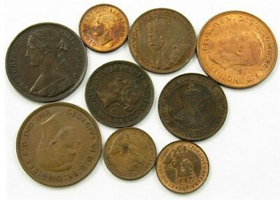 Lot of 9 British & Canadian Copper Coins (1862-1948) - All XF or Better