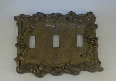 Vintage brass 3 toggle light switch cover plate
