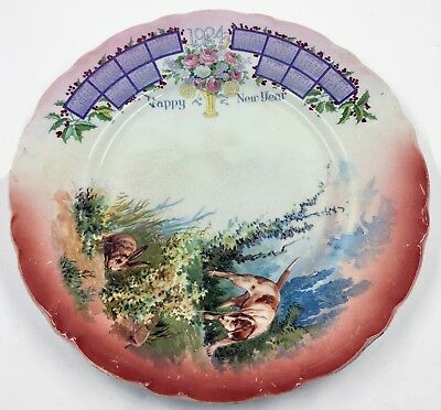 Antique 1924 Calendar Plate With Hunting Dog & Rabbit Happy New Year 9""
