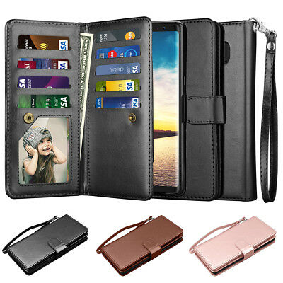 For Samsung Galaxy Note 8 Leather Removable Wallet Magnetic Flip Card Case Cover