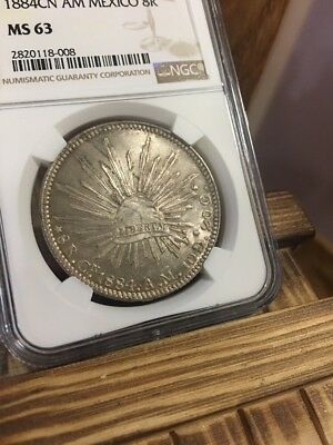 1884 CN -AM EIGHT 8 REALES MEXICO NGC MS63 RARE In Grade No Reserve