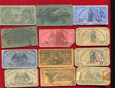Mexico Revolutionary Cardboard Circa 1914 Currency Circulated Lot #2