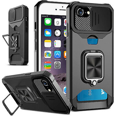 iPhone 8 Armor Shockproof Hybrid Rugged Rubber Protective Stand Case Cover+Glass