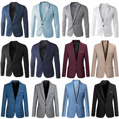 Men's Formal Blazer Suit Coat Jacket Slim Business Wedding One Button Casual Top