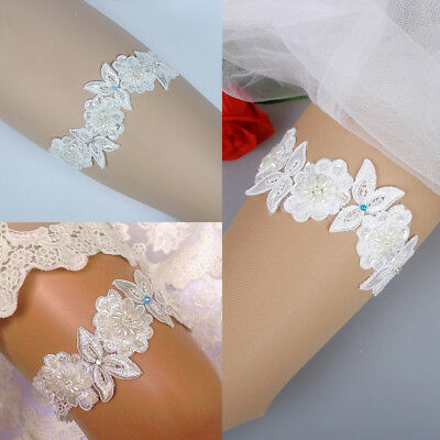 Luxury Lace Bridal Garter Something Blue Pearl Flower Beaded Wedding Bride 2018