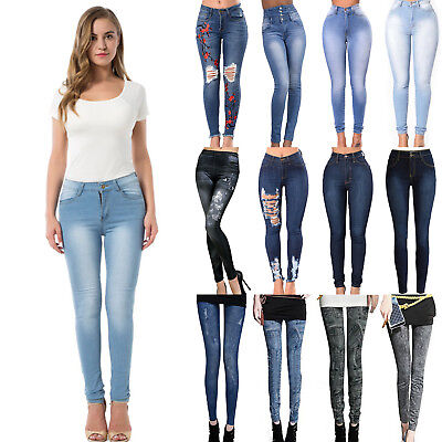 Women High Waist Slim Skinny Denim Jeans Stretch Pencil Pants Jeggings Trousers