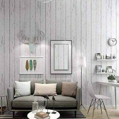 Country Rustic Wood Panel Look OFF WHITE Distressed Striped Wallpaper Industry