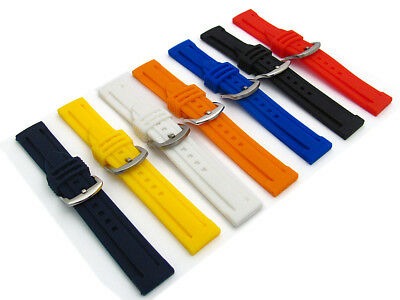 Replacement Soft Flexible Silicone Watch Strap Lots of Sizes & Colours C040