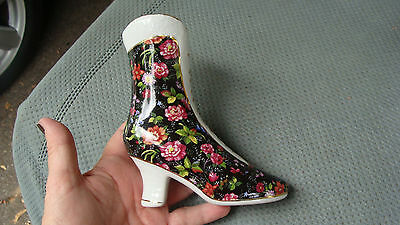 Vintage Formalities By Baum Bros Porcelain Victorian Roses Laced Boot Vase