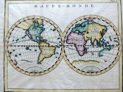 WORLD MAPPE MONDE CALIFORNIA ISLE  BY CLAUDE BUFFIER c1722  GENUINE  ANTIQUE MAP