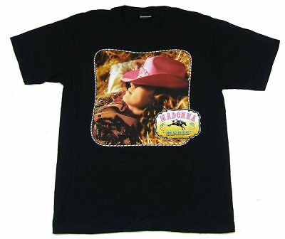 Madonna Music Pink Cowboy Hat Cowgirl Image Black T Shirt New Official
