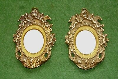 ANTIQUE MINIATURE PAIR ORMOLU BRASS FRAMES SUPERB QUALITY CHERUBS PUTTI cir 1850