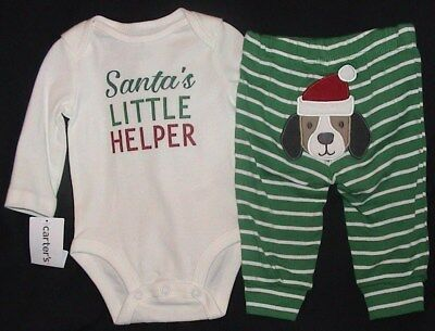 Santa's Little Helper-Green & White Outfit With Puppy Face-Size 6 Months-Nwt