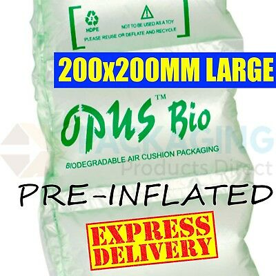 150 x LARGE BIODEGRADABLE PRE INFLATED AIR PILLOWS 200x200mm CUSHIONS VOID FILL