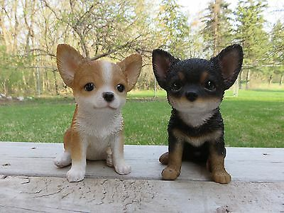 2 Chihuahua Puppy Statues  Figurine Canine Home Decor Resin Pet Sitting  6.5 In.