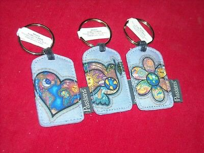 Peace Love Flowers Lot of 3 Keychains NEW KEY CHAIN