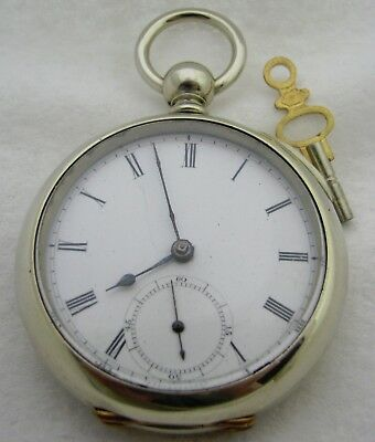Antique 18S Waltham Model 1857 Wm Ellery Silveroid Key Wind Pocket Watch