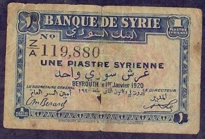 1 Piastre From Syrie 1920 B2