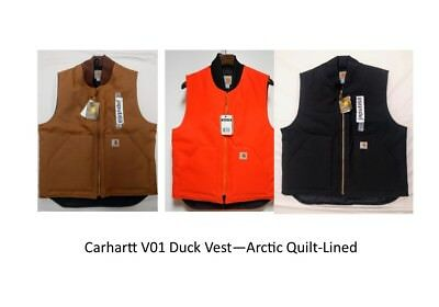 READY TO SHIP Carhartt V01 Duck Vest Acrtic Quilt Lined CBX45-01