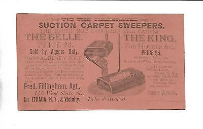 ca1880s Carpet Sweeper Trade Card - Fred Fillingham, Agent In Ithaca NY Bostwick
