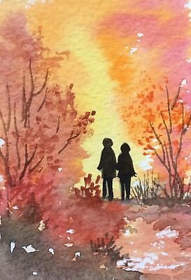 Original Art Small ACEO painting watercolour Golden Light by Pamela West