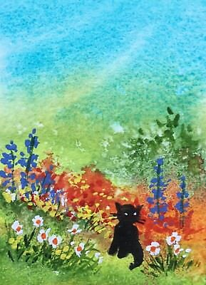 Original Art Small ACEO painting watercolour Orange Flowers & cat by Pamela West