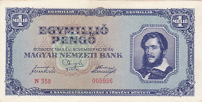 1000 000 Pengo From  Hungary 1945 Ef Crispy Banknote!pick-122