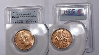 1949 Canada Cent Pcgs Ms64 Rd Inv#325B-2