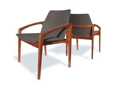 Pair of Kia Kristiansen Dining, Side or Desk Chairs, New Upholstery, Danish 1960