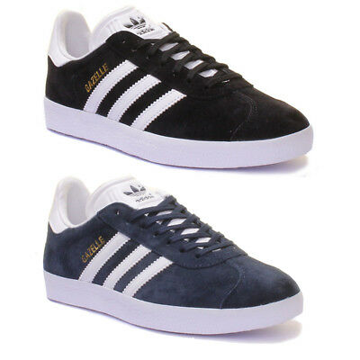 Adidas Gazelle Mens Black White Suede Leather Trainers UK Size 6 - 12