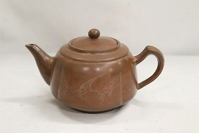 Chinese Yixing Birds Branches Calligraphy Pottery Teapot Made in China