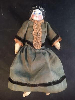 Antique China Head Doll Leather Body Original Clothes Dollhouse Doll -  6 1/2""