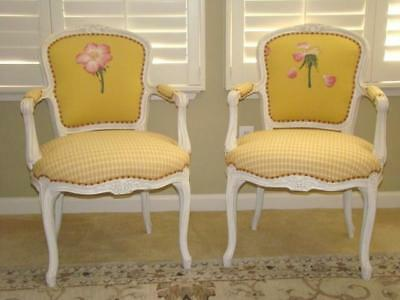 2 Beautiful NANCY CORZINE Designer French LOUIS XIV Fauteuil Style Chairs