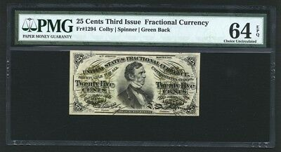"25 Cents Fractional Currency Fr-1294 Certified Pmg ""choice Uncirculated-64-Epq"""