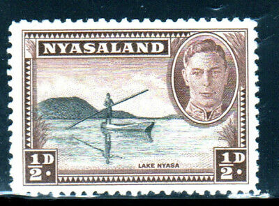 NYASALAND PROTECTORATE #68  1945  1/2p  CANOE ON LAKE NYASSA   MINT  VF NH  O.G