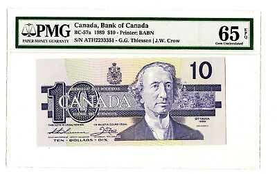 1989 $10 BANK OF CANADA PMG 65 EPQ BC-57a BANKNOTE THIESSEN CROW PREFIX ATH
