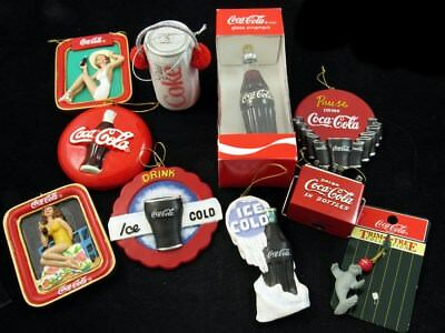 10 Piece Lot of Coca-Cola Collectible Christmas Ornaments