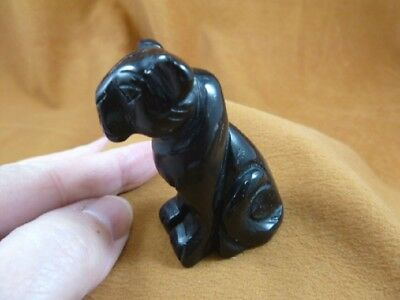 Y-CHE-705) little black Onyx CHEETAH gemstone GEM carving wild CATS cat statue