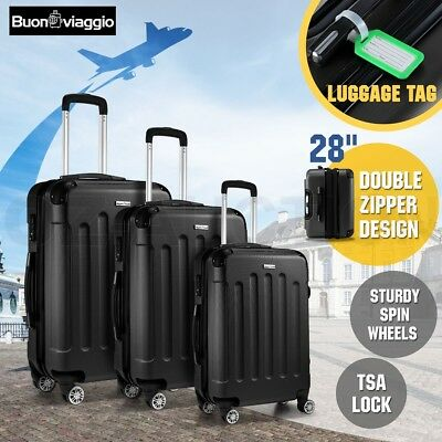 3PC Luggage Suitcase Trolley Set TSA Hard Case Carry Lightweight Spinner - Black