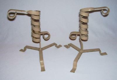 Interesting Pair of Painted Iron SPIRAL CANDLESTICK HOLDERS w/Spiral Adjusters