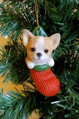 Chihuahua Puppy Dog in Stocking Tree Ornament Resin 2.5 in. Gift  Chiwawa New