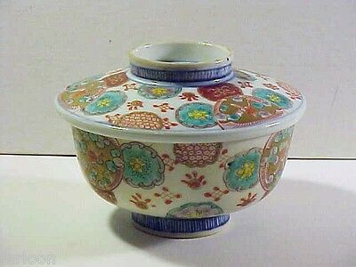 19th Century KAKIEMON ARITA Polychrome COVERED RICE BOWL 4 Marks