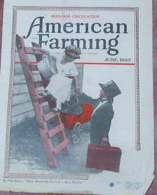 "Antique Magazine Print ""American Farming"" Boy Helping Little Lady off the Ladder"