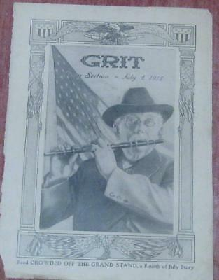 "Antique ""GRIT"" Magazine Print Sepia Tone - July 4th 1915 Old Man & Piccolo"