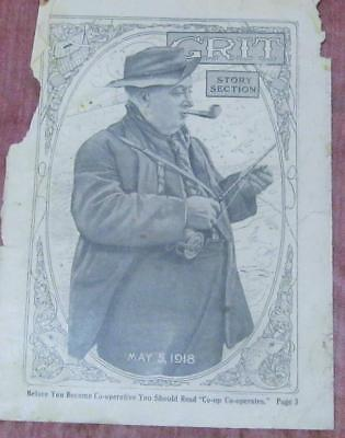 "Antique ""GRIT"" Magazine Print Sepia Tone - May 5th 1918 Man w/ Pipe Fishing"