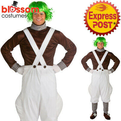 K316 Chocolate Factory Worker + Wig Oompa Loompa Book Week Day World Men Costume