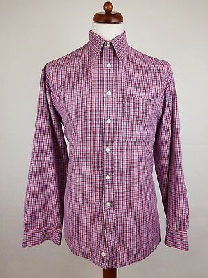 "Vtg 1980s Red / Blue Check Polycotton Shirt Mod Weller -16""/L- EY75"