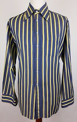 "Vtg 1970s Blue Striped Long Sleeve Polycotton Shirt Mod Disco 17""/XL EY80"