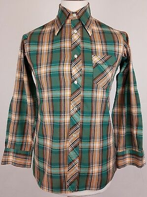 "Vtg 1970s Green Check Long Sleeve Slim Fit Polycotton Shirt Mod Disco 15""/M EY81"
