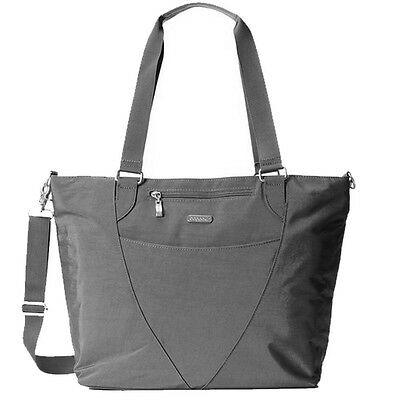 Baggallini Avenue Laptop Tote Travel Handbag ID Tag Charcoal